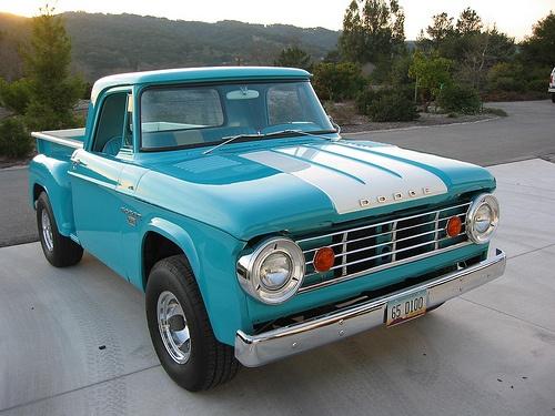65 D100 stepside.  Love the stripes on the hood