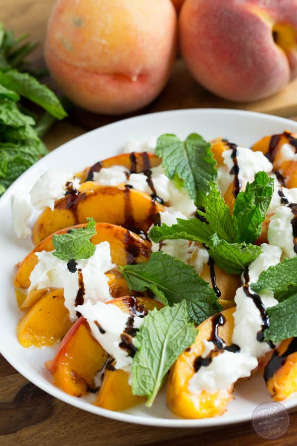 Grilled peaches with burrata, mint, and balsamic drizzle is a super easy summer appetizer that you'll want to have all summer long!