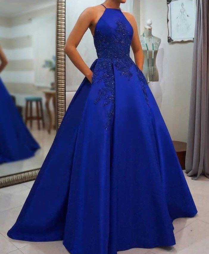 Königsblau Langes Abendkleid Blau Abendkleid Satin A-Linie Abendkleider Mode …   – Dresses