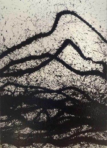 Fabienne Verdier. Energy Fields. Black ink on paper (Moulin du gué), 198 x 134cm.