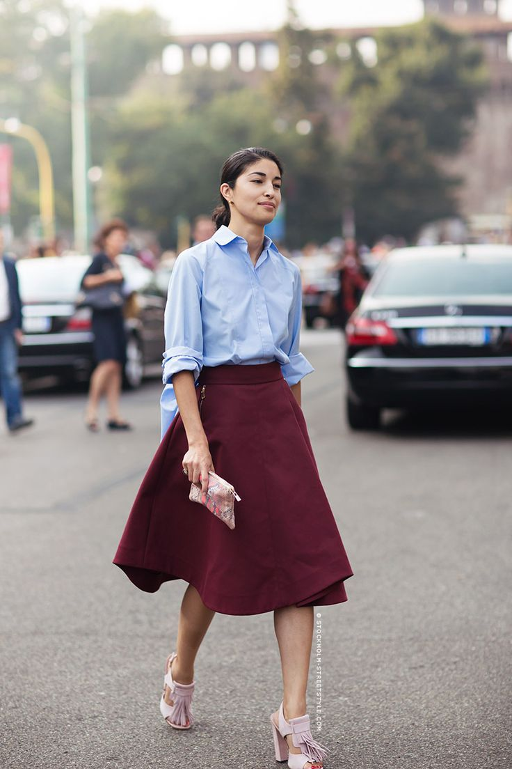 marsala skirt with button down shirt
