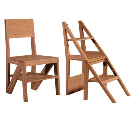 Scala Zero | ResourceFurniture- ladder to loft and chair: Wooden Chairs, Transformers Furniture, Dining Chairs, Small Spaces, Ladder Chairs, Folding Chairs, Resources Furniture, Step Ladder, Scala Zero