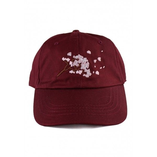 Cherry Blossom 6 Panel Dad Hat ($4.91) ❤ liked on Polyvore featuring accessories, hats, 6 panel hat, embroidery hats, six panel hat, six panel cap and cap hats