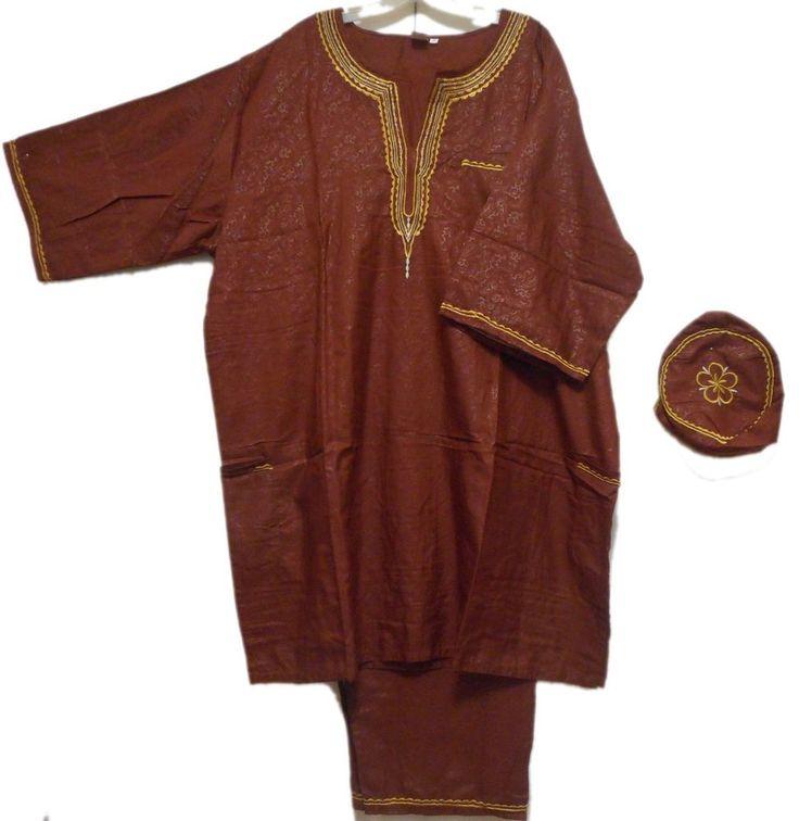 African Suit Ethnic Men Pant Suit Traditional Cultural Pant Suit 1Siz Brown Gold #Handmade #TraditionalPantSuit