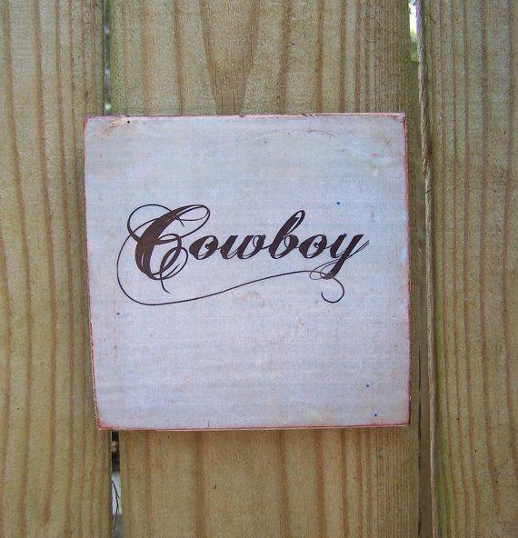 Encaustic Painting Cowboy Sign Rustic Woodblock by Debidoodah, $12.00