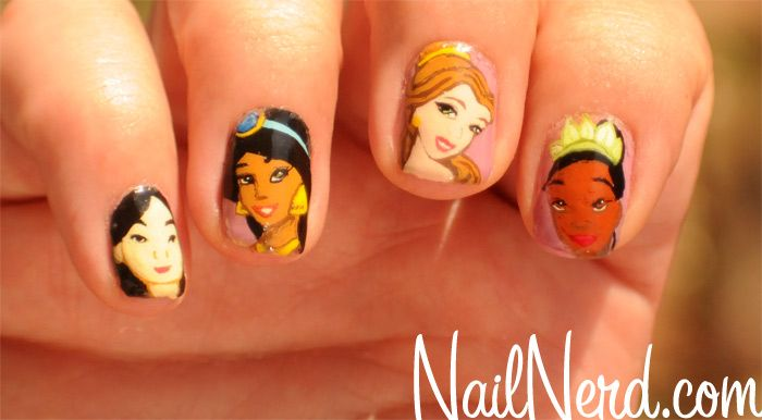 Amazing that someone can do this, freehand, on such a tiny canvas. Disney Princess Nails from Nail Nerd