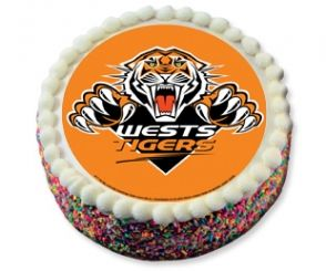NRL Wests Tigers -  edible cake topper - you just buy the top round edible icing with the picture on the front for $10. instant foot cake and no extra work. Rugby league party done.