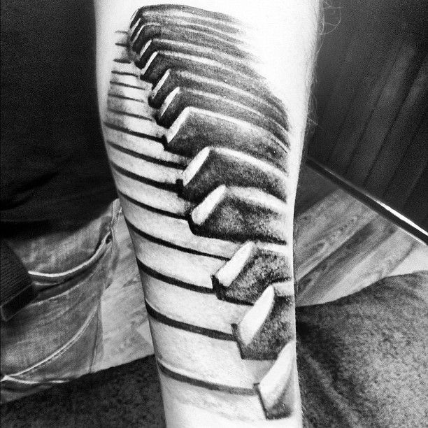piano keys 3d tattoo - Google Search