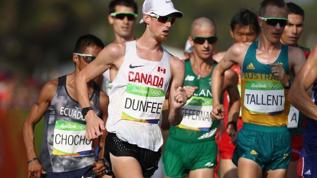 No sponsor leaves Olympic good guy Evan Dunfee without a shoe to walk on Race walker goes through a pair every 3 or 4 weeks