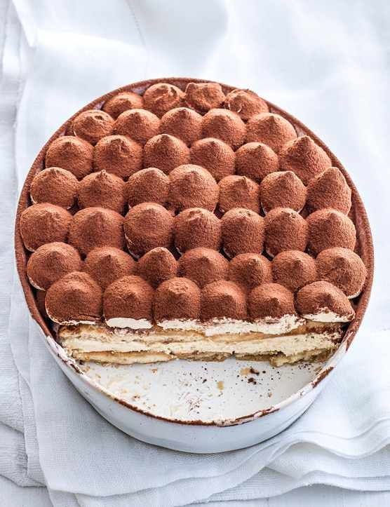 This tiramisu recipe combines cream y baileys with soft sponge fingers, strong coffee and sweet almond liqueur to make a boozy and indulgent wintertime dessert