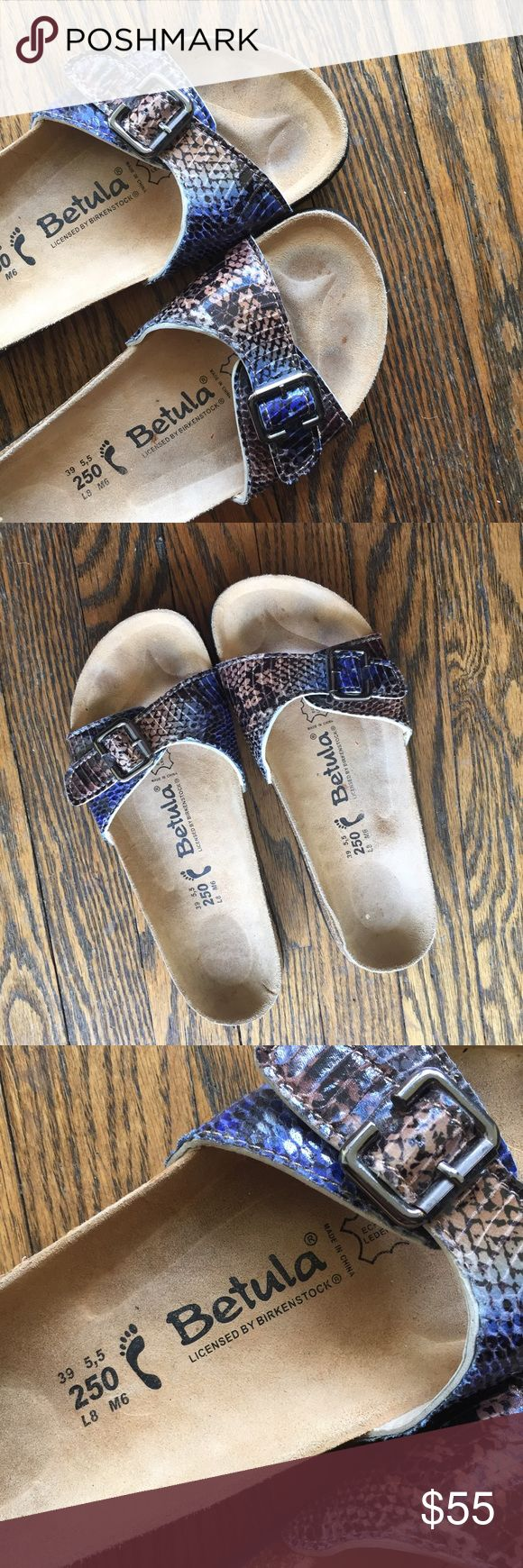 Birkenstock Betula sandals Bloggers Fav! Brand new pair of Birkenstock Betula sandals. The style is Madrid. Must have this spring/summer! Love this faux snake print pattern. Size 8. No trades. Birkenstock Shoes Sandals