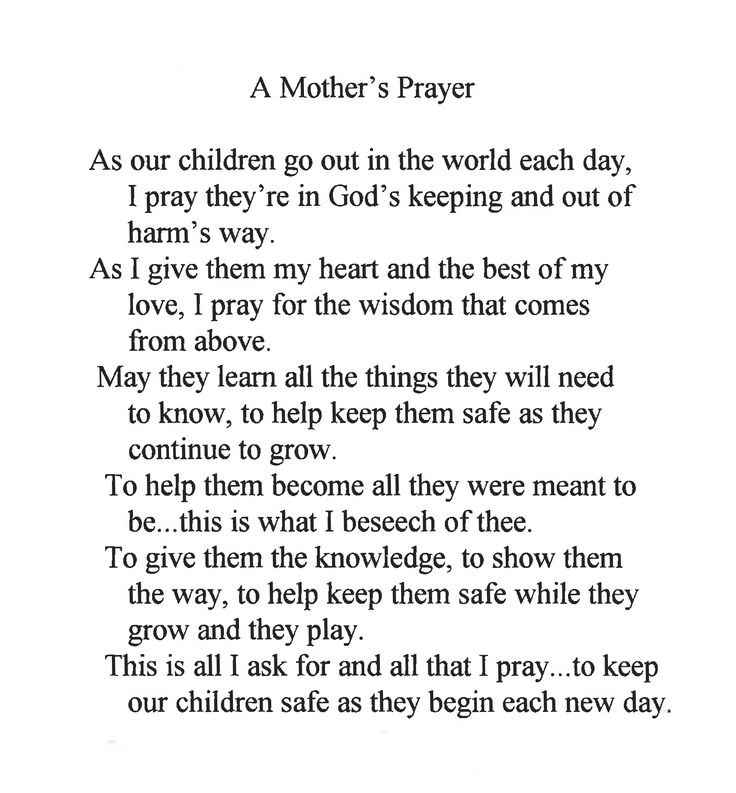 a mothers prayer | Mother's Prayer | See More Safety