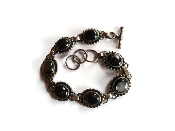 Madre de pulsera, negro Vintage Plata de pulsera de perlas, regalo de la novia, pulsera de eslabones de plata para ella, vendimia de la joyería para las mujeres