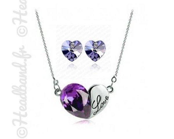 Parure love cristaux violets