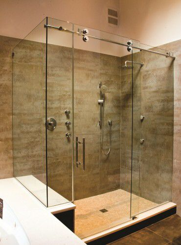 Frameless Rolling Glass Shower Ideas For House Plans
