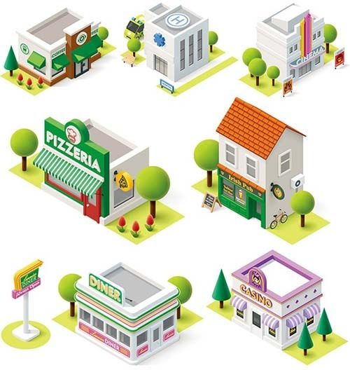 cartoon building models shiny vector | 3D in 2019 | Cartoon