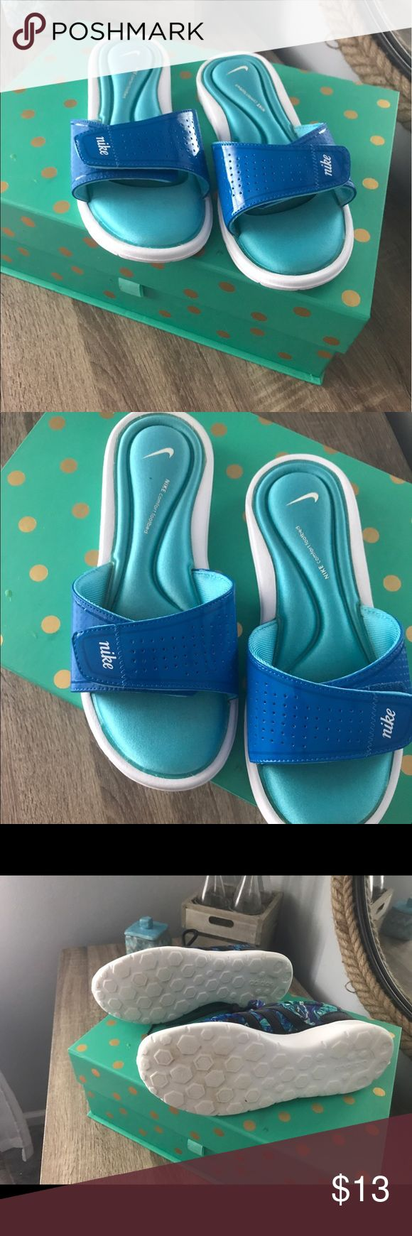 Nike memory foam sandals Nike aqua blue memory foam flip flops.  Size 8 Nike Shoes Sandals