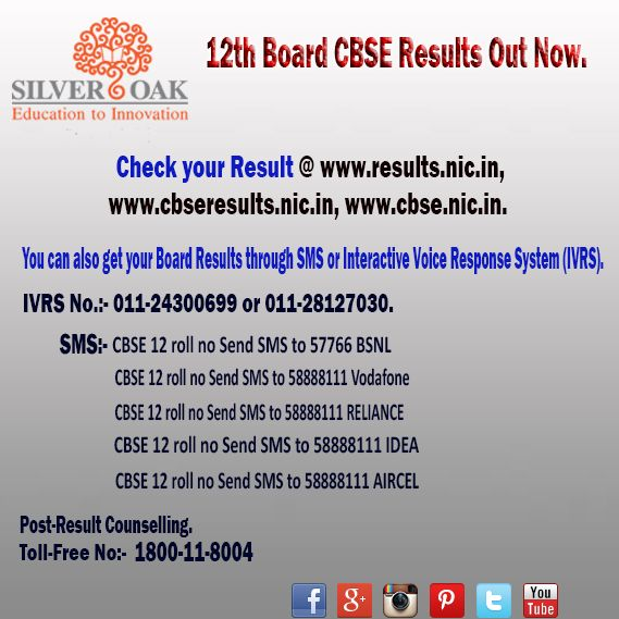 Results of 12th Board CBSE exams out now... For more details see the image below. Share with us the experience of your exams and  result. Follow us on : Twitter :-http://goo.gl/R02bPj Pinterest :-http://goo.gl/TF7Vs6 Google+ :-http://goo.gl/KQafQ4 YouTube :-http://goo.gl/pMZT7g Instagram :-https://goo.gl/sRDWX4 ‪#‎socet‬ ‪#‎engineering‬ ‪#‎silveroak‬ ‪#‎results‬ ‪#‎exams‬ ‪#‎boards‬ ‪#‎cbse‬ ‪#‎education‬ ‪#‎knowledgeispower‬ ‪#‎ahmedabad‬ ‪#‎gujarat‬ ‪#‎centralboard‬ ‪#‎ClassXII‬