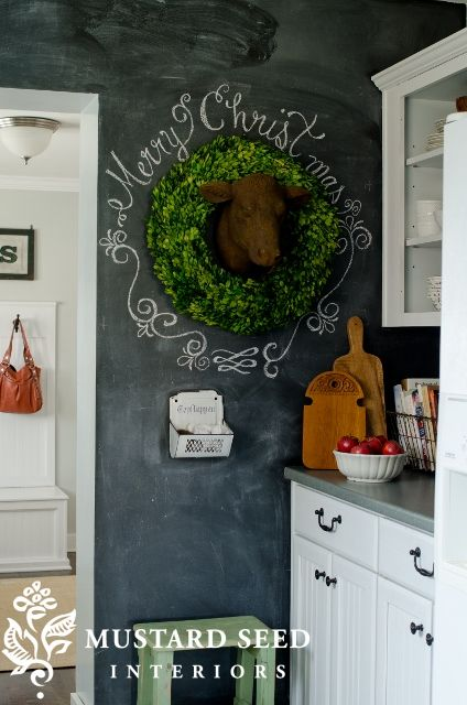 paint kitchen wall with chalkboard paint (this pin has nothing to do with the wreath for me)