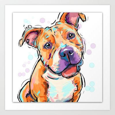 Pit bull love Art Print by Cartoon Your Memories - $22.88