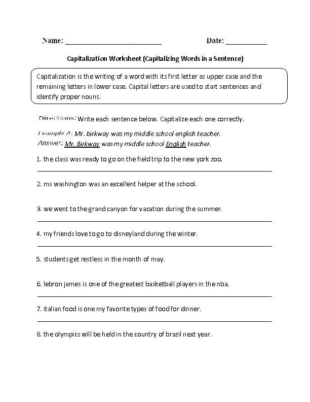 Capitalizing Words In Sentence Worksheet Capitalization Worksheets Capitalization Word Sentences Capitalization worksheet 7th grade