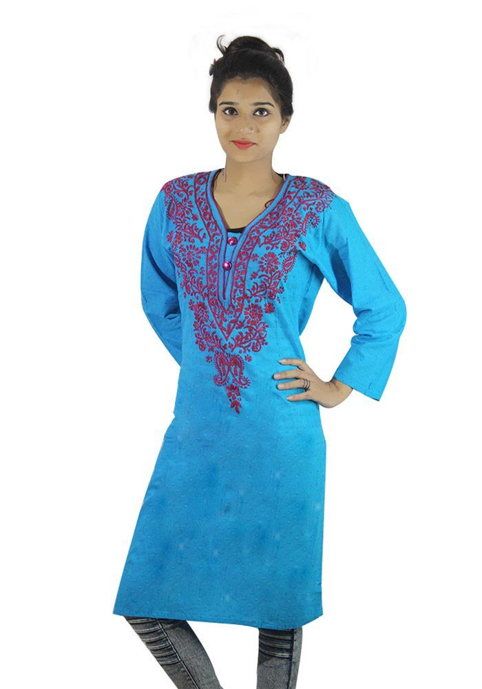 Womens Chikan Kurti Blue Colored