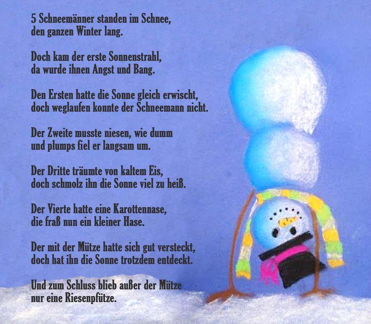 Fingerspiel Funf Schneemanner Standen Im Schnee Fingerspiele