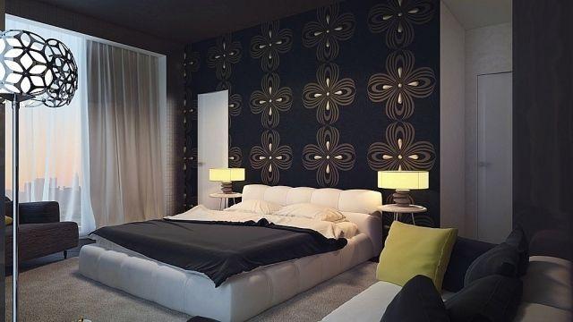 schwarz als Wandfarbe für Schlafzimmerwände-geborgen-florale Muster