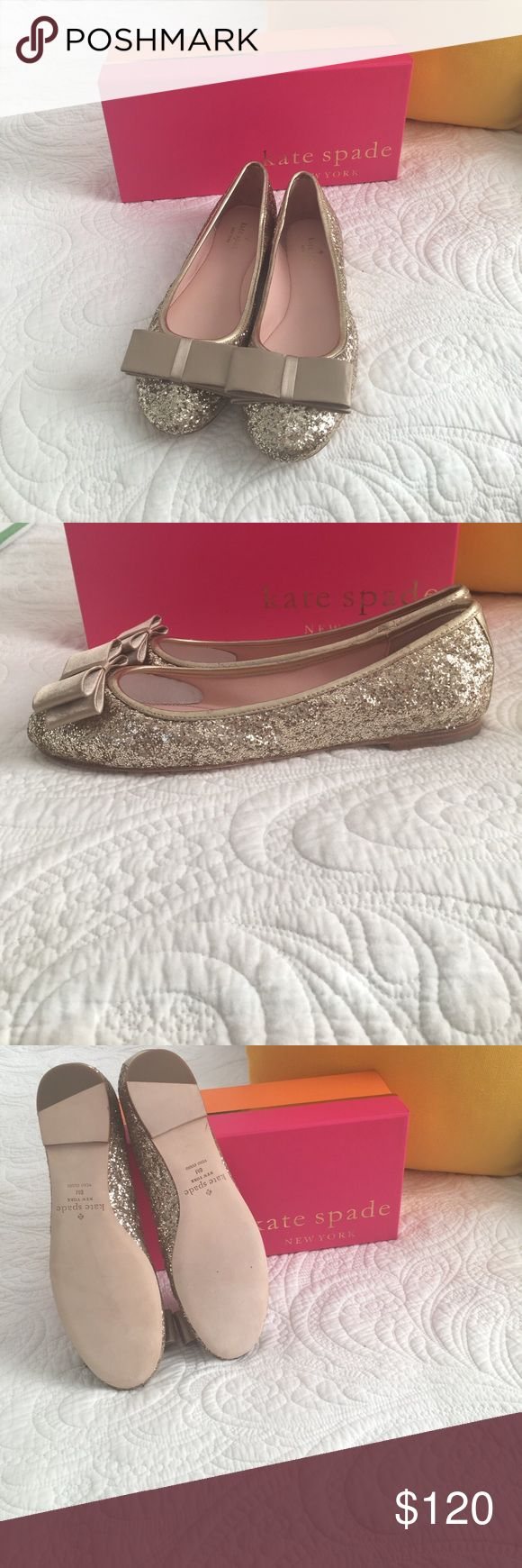 Brand New Kate Spade Size 8 Gold Glitter Satin Bow These shoes are amazing! Truly one of a kind Size 8 Kate Spade Flats. Gold Glitter with Gold Satin Bow. Brand New out of the Box. Make me a reasonable offer or Bundle for 15% savings. Add these to your shoe closet, they will go quick!🎀♠️ kate spade Shoes