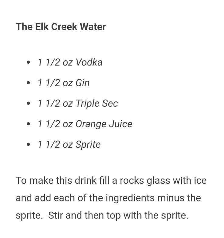 Elk Creek Water Recipe