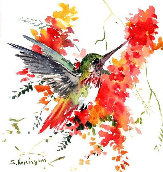Hummingbird Painting Original watercolor 12 X 12 by ORIGINALONLY