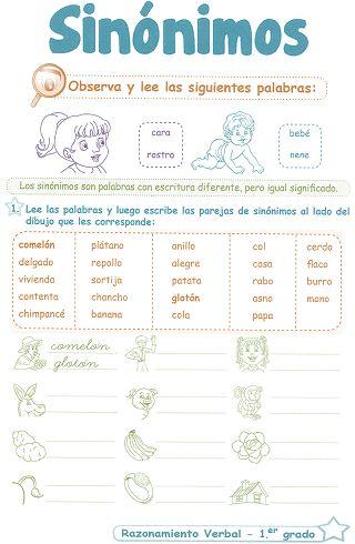 http://razonamiento-verbal1.blogspot.com/2013/12/sinonimos-para-ninos-1-grado-primaria.html