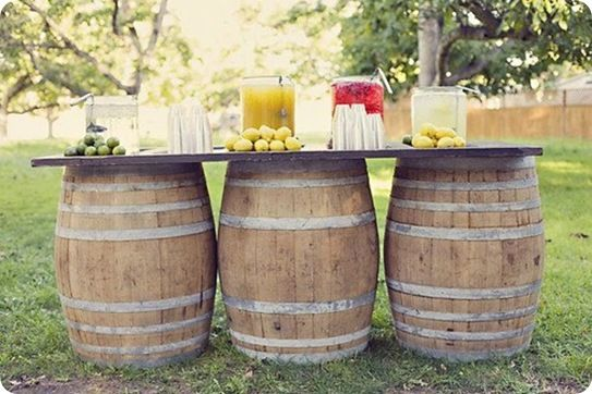 love it!! (i'd love it more if the barrells were full of wine!): Drinks Stations, Wine Barrels, Drinks Tables, Wedding, Party Idea, Barrel Table, Outdoor Bar, Barrels Bar, Barrels Tables