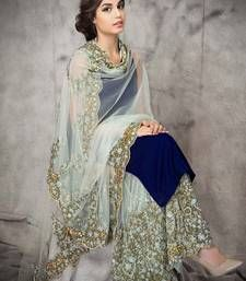 Buy Cyan georgette embroidery semi stitiched salwar with dupatta party-wear-salwar-kameez online