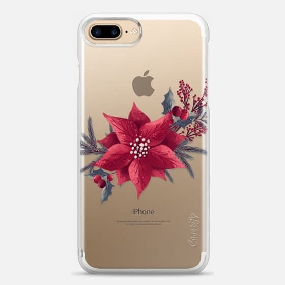 Casetify iPhone 7 Plus Snap Case - Christmas Transparent Floral Xmas New Year Pattern Retro Vintage by Frou Frou Craft
