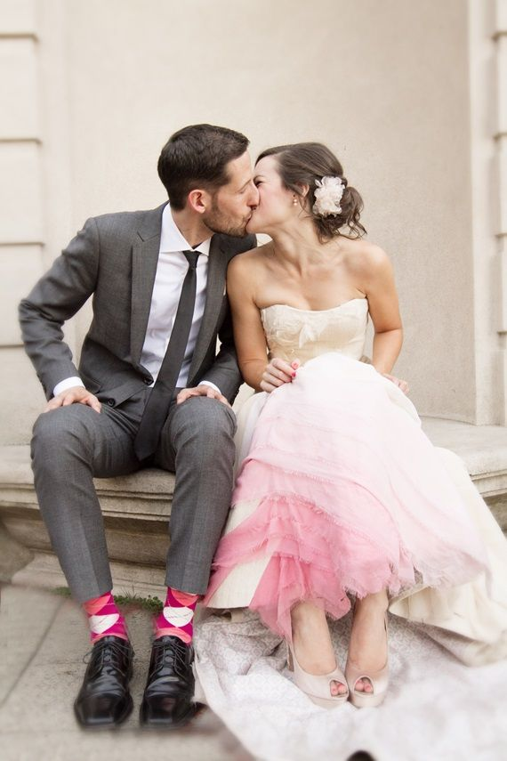 Pink ombre wedding dress   Photo by Julie Mikos   Read more -  http://www.100layercake.com/blog/?p=73120