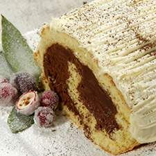 BEST CAKE YUM! Everyone loves this. Use vanilla frosting recipe pinned next Bûche de Noël Recipe | King Arthur Flour