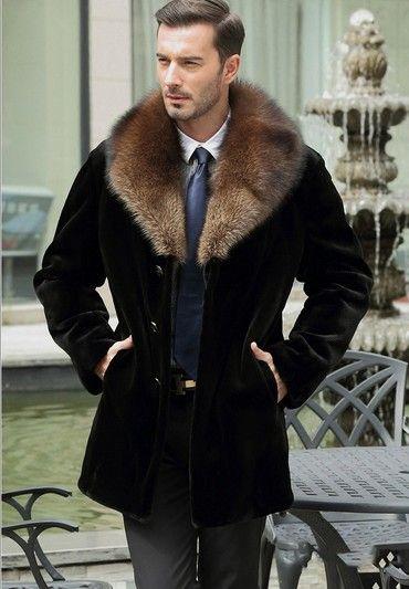 Black faux fur coat men