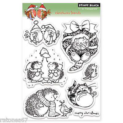 новый Пенни черный Рождество друзья чистых марок Hedgehog Кот зимние праздники птица