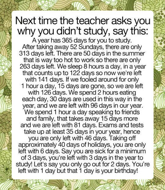 365 Days In A Year Homework Excuse Generator - image 4