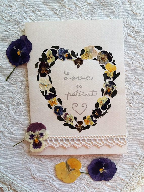 Valentine Heart card. Love is patient card. Sweethearts card.