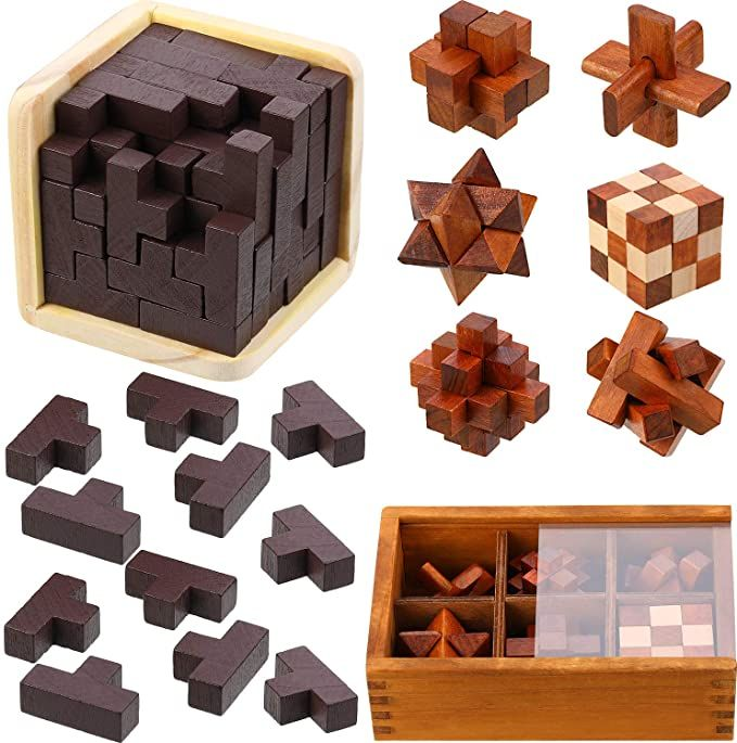 Wooden Box Puzzle Brain Teaser Puzzles Game Toy IQ Educational Puzzle Gift UK!