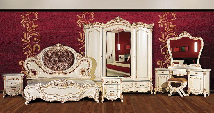 Спальня «Элиза» NEW 4-х дв. Слоновая Кость/Орех Анапа. В комплект входит: Шкаф 4-х дв., кровать 1800*2000, тумба прикроватная 2 шт, трельяж, зеркало, пуф