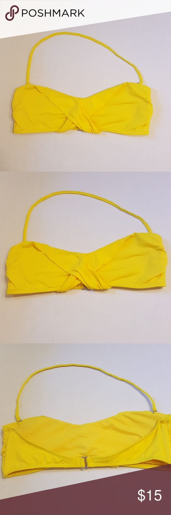 Bright Yellow Bandeau Bikini Top Large Bright Yellow Bandeau Bikini Top Large, no padding, halter straps measures 20 inches and is removeable. Good condition, tiny spot on inside.  All reasonable offers considered   620CS Cole of California Swim Bikinis