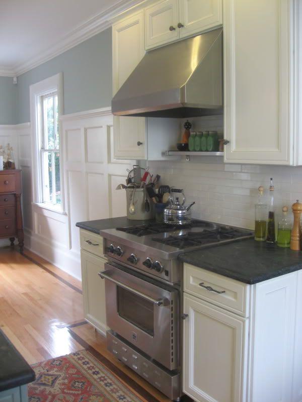 Kitchen With White Cabinets, Soapstone Counters U0026 Subway Tile Backsplash
