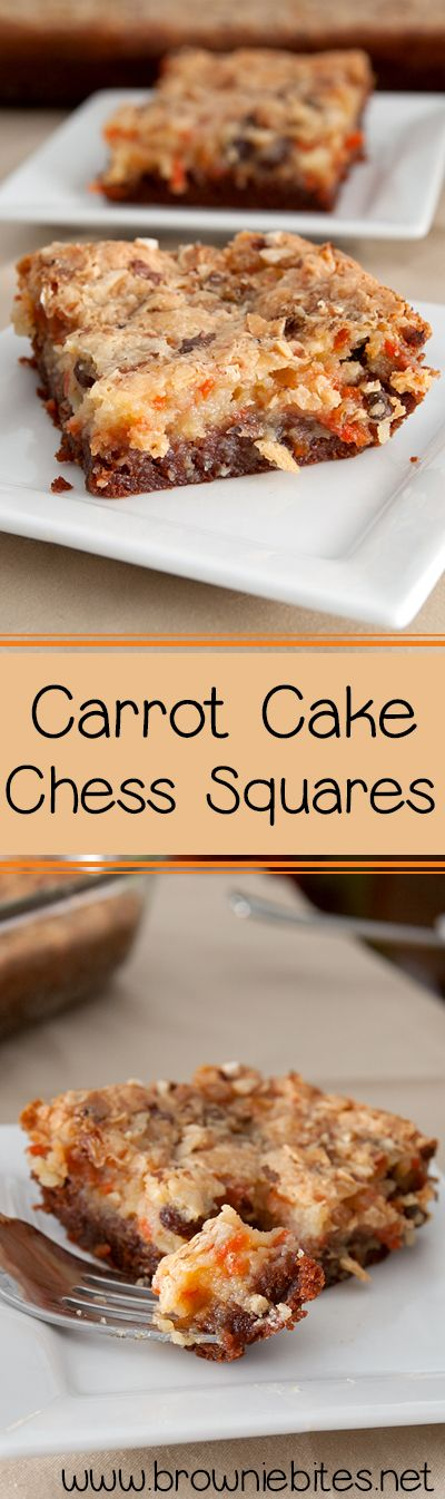 Carrot Cake Chess Squares - also known as gooey cake.  A different spin on a sinful, delicious classic.