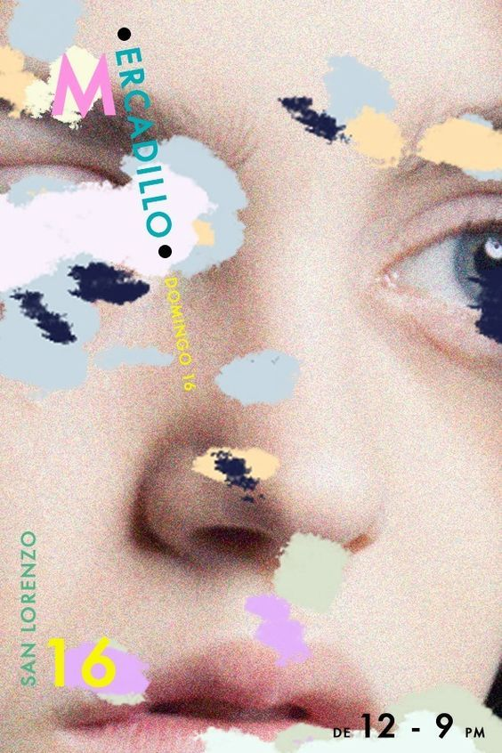 Haunting grainy close-up with graphic splodges and random type for #Mercadillo #poster #art