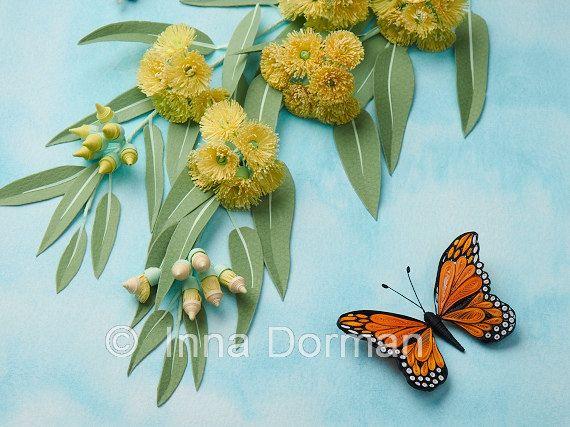 Цветущий эвкалипт и бабочка Монарх. Рамку со стеклом, OOAK. Бумага скань / рюш