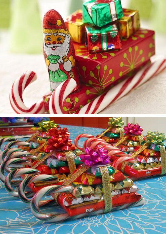 Santas Candy Sleighs | Click Pic for 22 DIY Christmas Gift Ideas for Mom | Handmade Christmas Gifts for Grandma