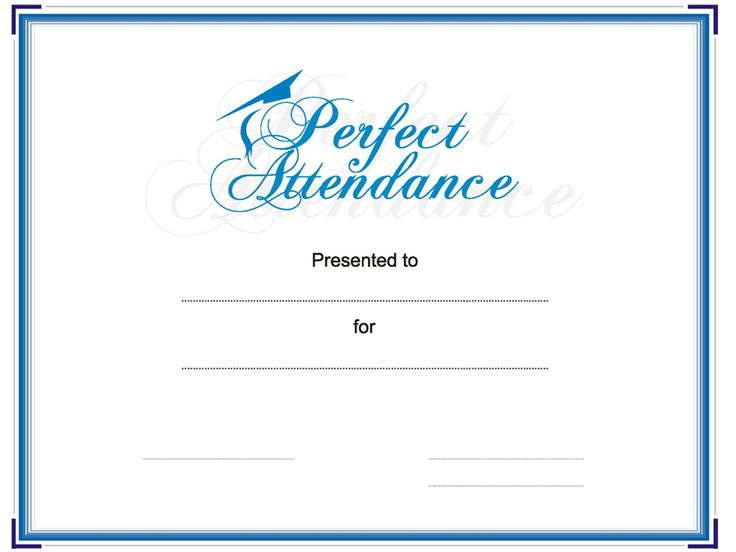 8 best Perfect Attendance images on Pinterest Award certificates - free printable perfect attendance certificate template